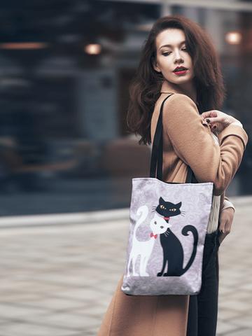 pro dokonalý a originální outfit Taška na rameno Shop - Černá a bílá kočka