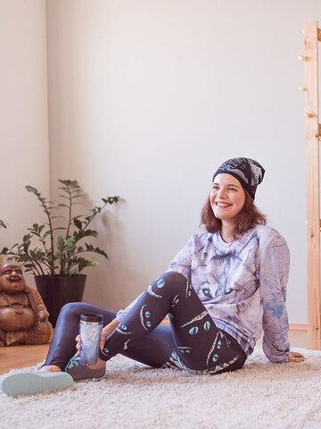 Potěšte se tímto kouskem Dedoles Dámské sportovní elastické legíny Kočičí úsměv