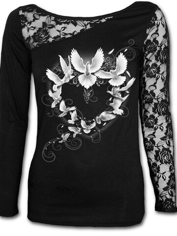 Obrázok produktu Dámske tričko s čipkovanými rukávmi Holubice mieru
