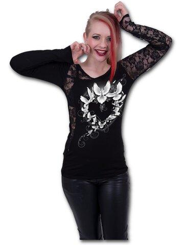Výnimočný darček od Dedoles Dámske tričko s čipkovanými rukávmi Holubice mieru
