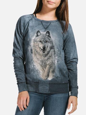 Lifestyle foto Dámska modrá mikina Snežný vlk