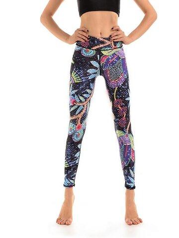 Pre dokonalý a originálny outfit Ženske športne elastične pajkice Neonsko cvetje