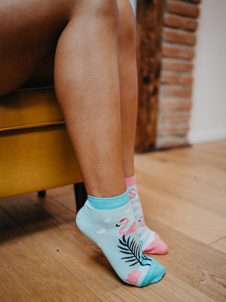 Obrázok produktu Veselé členkové ponožky Zamilované plameniaky