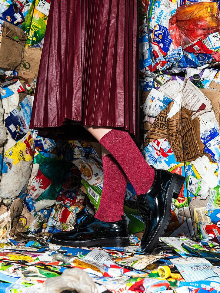 Eredeti és szokatlan ajándékot keres? a megajándékozottat garantáltan meglepi Újrahasznosított pamut zokni Bordó