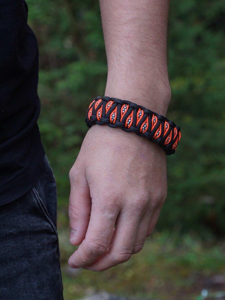 Wyprzedaż Pomarańczowo-czarna bransoletka Paracord z nożem, kompasem, krzesiwem i gwizdkiem Inachis