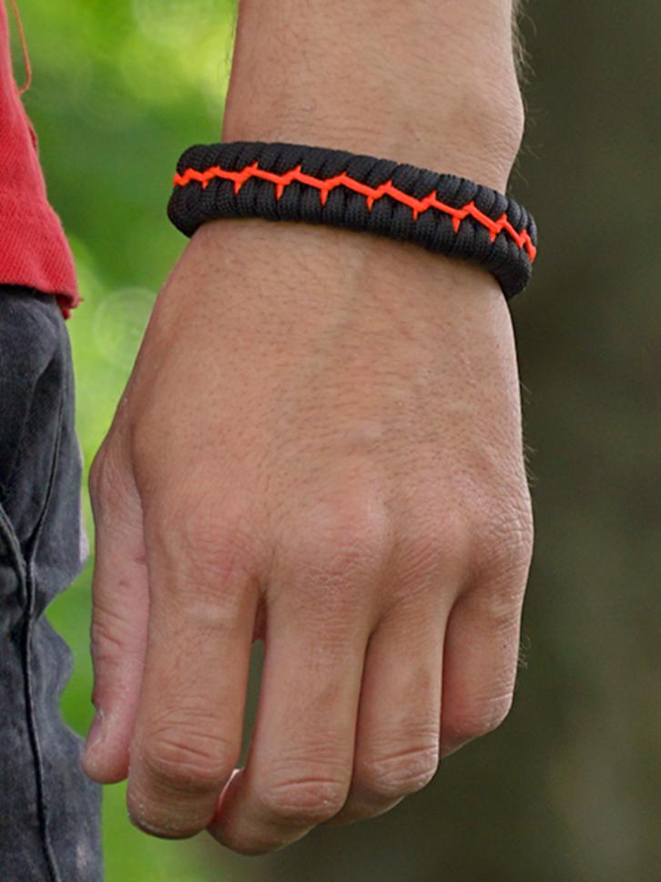 ZNIŻKA Zestaw czarno-pomarańczowych bransoletek z linki spadochronowej