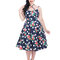Gift idea Blue Dotted Retro Pin Up Dress Red Flowers