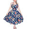 Original gift Blue Dotted Retro Pin Up Dress Red Flowers