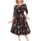 Výnimočný darček od Dedoles Retro pin up šaty s rukávom Modré a červené kvety