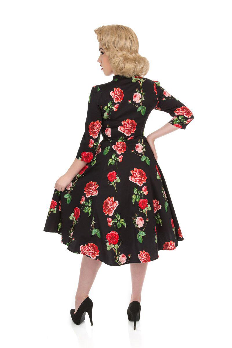 Vintage Pin Up Kleid mit Ärmel Schwarz Rote Rosen | Dedoles